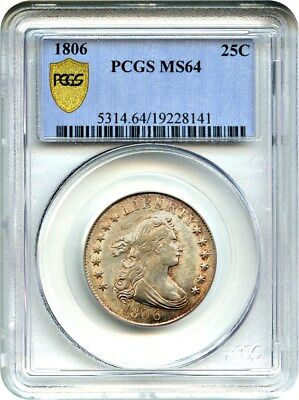 1806 25c PCGS MS64 - Great Early Type Coin - Bust Quarter