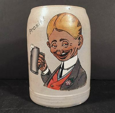 Early 1900s German Salt Glaze Stoneware PROSIT! Mug Stein HB Hofbrauhaus Cartoon
