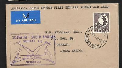 Australia, 1952, Flight To South Africa, Cachet On Front