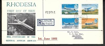 RHODESIA, 1966 CAA, NON PTC REDG. ILLUSTRATED FDC, 1/3d STAMP, PLANE HAS FLAW