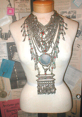 Antique Vintage Gypsy Tribal Large Silver NECKLACE from India