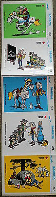 AUTOCOLLANTS LUCKY LUKE MORRIS SABENA 1988 DARGAUD. 5 Différents