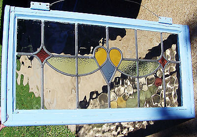 35x19 Nice Old Vtg Floral Nouveau Leaded 4 Colors Stained Glass Window Antique