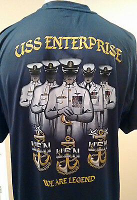 CVN-65 USS ENTERPRISE BIG E CPO Chief T-Shirt Wicking Poly SMALL BLUE