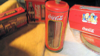 """COKE COCA COLA 9"""" STRAW HOLDER CAN STRAWS LID TIN ADVERTISING Sign Advertisement"""