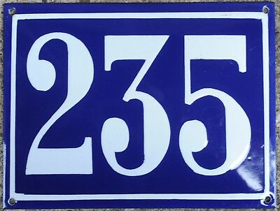 Large old blue French house number 235 door gate plate plaque enamel steel sign