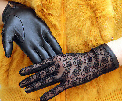Black Women's Genuine Lambskin Leather & Lace Gloves Touch Screen Sunproof New