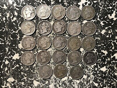 1901 Straits Settlements 5 Cents Silver! (23 Available) Circ. (1 Coin Only)