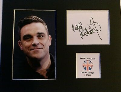 Limited Edition Robbie Williams Pop Music Signed Mount Display AUTOGRAPH