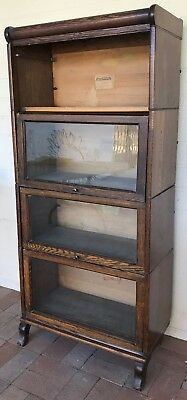 Antique Oak Barrister Bookcase 4 Sections Made in USA by Lundstrom c 1904