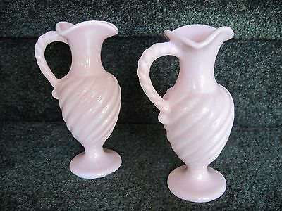 "Vintage CAMARK pink swirl pottery vases, pitchers, set of two, 6.75"" high"