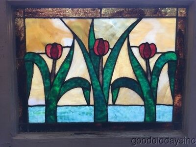"Beautiful Antique Stained Leaded Glass Tulip Window Circa 1920 28"" by 23"""