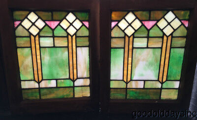 "Pair of Colorful Stained Leaded Glass Windows 25"" by 20"""