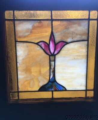 "Small Antique Stained Leaded Glass Window 21"" by 20"" Circa 1925"
