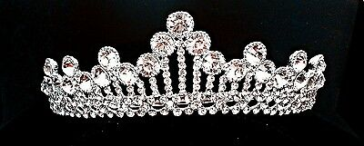 Silver Bridal Pageant Wedding Prom Crystal Queen Crown Tiara Headpiece W24