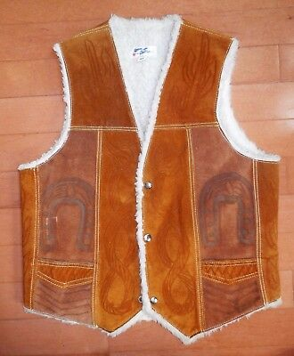 Vintage Faux Shearling Suede Leather Tooled Vest Horse Horseshoe Rodeo Cowboy 42
