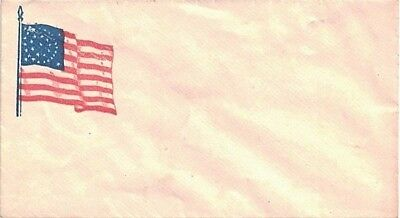 Unused Civil War Patriotic Cover with Colorful Wavy Flag, Stars in Circle Cachet
