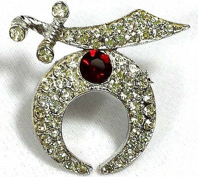 Vintage Jewelry Brooch Pin Scarf Silver Tone Knife Sword Red Clear Rhinestone#59
