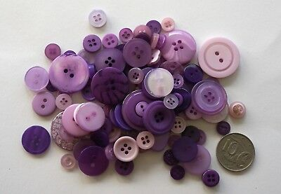 Lilac Buttons - 100 Mixed Pack - New - Scrapbooking Sewing Craft Patchwork