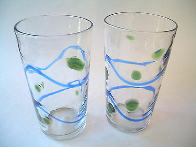 """Hand Blown Beer Glasses 6 1/4"""" Tall Blue And Green Design"""