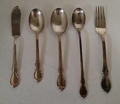 1847 Rogers Bros Silver Plate Reflection Flatware Lot 3 Spoons, 1 Fork, 1 Knife