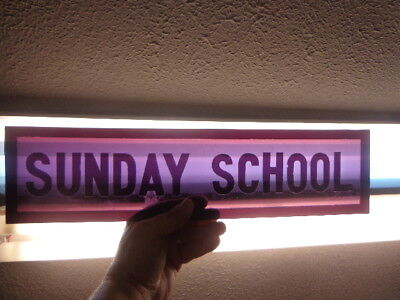 "Old Church Stained Glass Window Panel "" Sunday School "" in Purple"