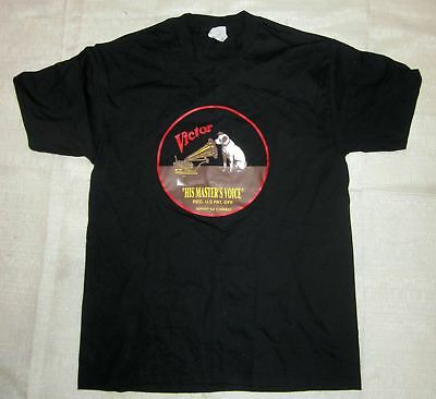 Nipper & Phonograph Black T-Shirts x-large size Edison Made in USA NOS