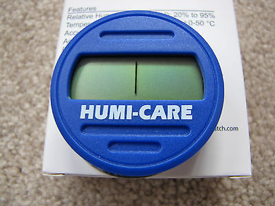 Humi-Care Blue Round Digital Hygrometer for Cigar Humidors - New