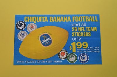 CHIQUITA BANANA FOOTBALL Stickers Ball NFL Coupon 26 Teams Grocery Store Produce