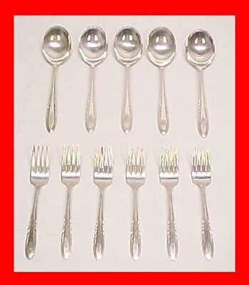 Epns National Silver Flame Pattern Soup Spoons & Salad Dessert Forks Silverplate