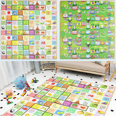 2Mx1.8M Baby Kids Play Mat Floor Rug Cushion Crawling Picnic Blanket Double-Side