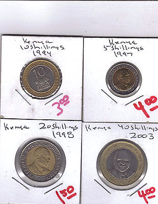From Show Inv. - 4 BI-METAL COINS from KENYA (4 DENOMINATIONS)