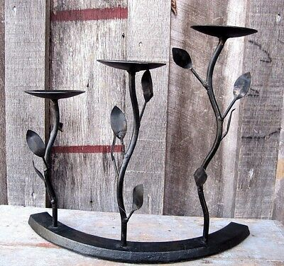 Wrought Iron Vintage Style Three Port Candle Holder Home & Garden Pillar Stand