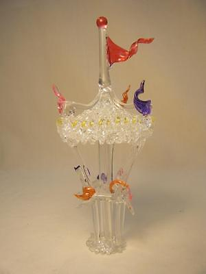 "Vintage Handmade/Twisted Color/Clear Glass Carousel w/3 Horses 7 1/2"" tall"
