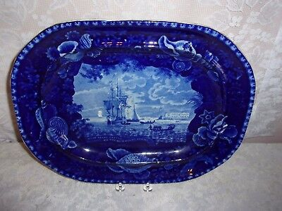 1820 Wood & Sons Staffordshire Flow Blue Cape Coast Castle Gold Coast of Africa