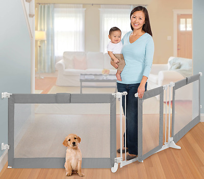 Extra-Wide Baby Toddler Pet Safety Gate Grey Mesh Fabric Fence Barrier System