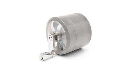 """Silver Herb Grinder w/ Handle Spice Crusher for Tobacco Hand Muller 2"""" 4 Piece"""