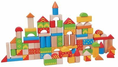 Lelin [100 Blocks] Wooden Construction Building Blocks Colourful Shapes For Kids