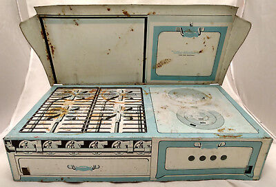 Antique Like Mother's Large Tin Toy Oven Stove Kitchen Litho Play Set VTG