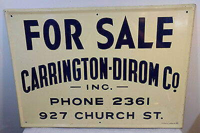 Antique Heavy Metal Real Estate For Sale Sign Carrington-Dirom Lynchburg, VA VTG