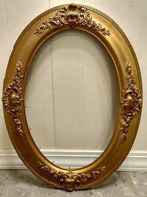 "Antique Large 25"" Gold Gilt Wood Oval Picture Frame Ornate Victorian Painting"