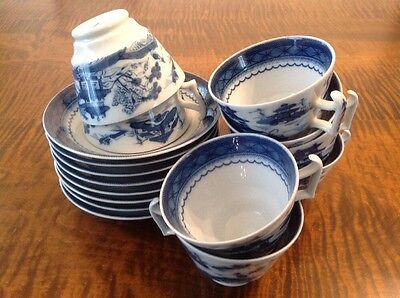 8 Blue Canton Cup & Saucer Sets by Mottahedeh ~ LOT