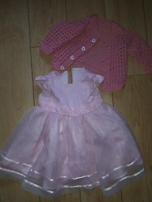George Baby Girls Pink Party Dress & Cardigan 6-9 months
