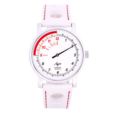 One Hand Luch Mechanical Wristwatch White & Red. Speedometer style. 71951775