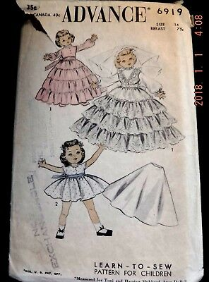 """1954 ADVANCE #6919 Learn-To-Sew Vintage Chubby Doll Pattern - Size 14"""" -"""