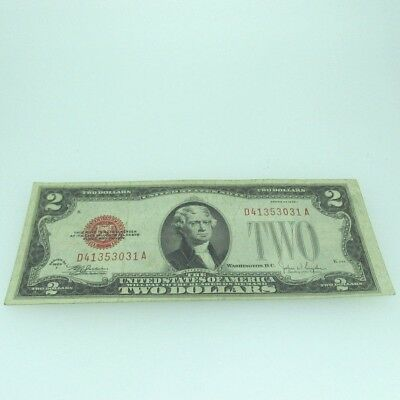 1928 F Red Seal United States Two Dollar Note 600459