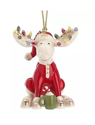 Lenox 2017 Marcel the Bedtime Moose Ornament New In Box First Quality Perfect