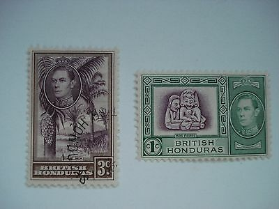 BRITISH HONDURAS LOT OF 2 DIFFERENT STAMPS ONE USED AND ONE MINT VF - H 1960's