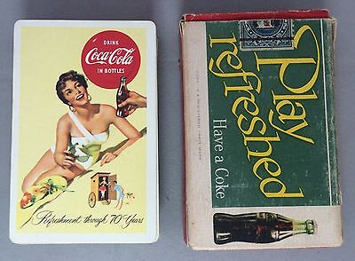 1956 Original Vintage Complete 52 COCA COLA Soda PLAYING CARDS & BOX Swimsuit