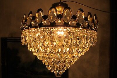 Antique Vintage  French  Basket Style Crystal Chandelier Lamp 1960's.16 in